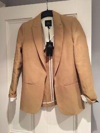 Next linen blend ladies pale mustard (ochre) jacket size 8 BNWT