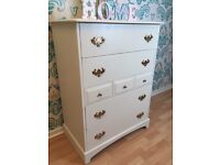 SOLD Shabby chic solid wood chest of drawers or sideboard
