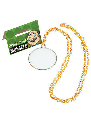 New Adult Victorian Edwardian Glass Monocle On Gold Chain Fancy Dress - Monocle Kostüm