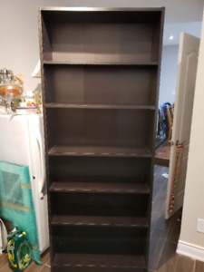 Ikea Billy bookcase, white and black-brown