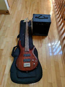 Jay Turser 5 String Bass Guitar + amp and gig bag