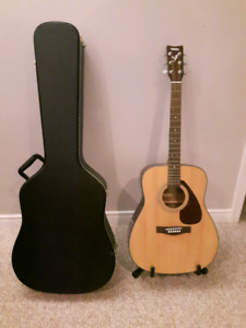 Yamaha F325 Acoustic Guitar, Case & Stand