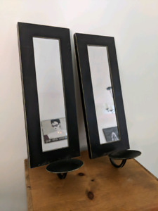 Pair of black wall sconces