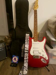 Guitare Électrique + Ampli Fender + sac + trépied + accordeur