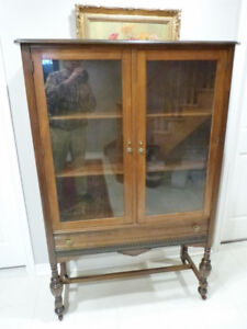 "VINTAGE CHINA CABINET WITH LINEN  DRAWER 40"" W, 62"" H, 16""D"