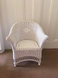 Children's White Wicker Chair