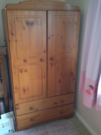 Kids Pine Wardrobe with 2 drawers