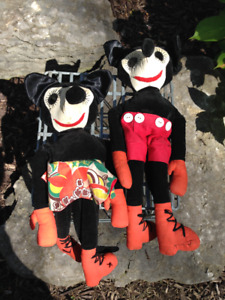 VINTAGE MICKEY AND MINNIE MOUSE RAG TYPE DOLLS ALL ORIGINAL