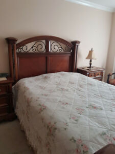 Queen Bed Set with Side Tables and Dressser, Mattress