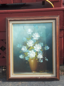 flower picture/wood frame