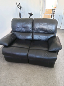 leather 2 seater fully reclining couch