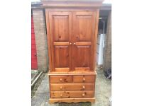 Solid pine double wardrobe with chest of draws