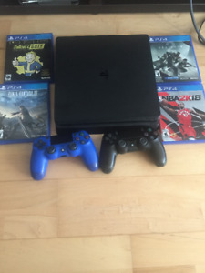 PS4 Slim 1TB - Gently Used with 2 Controllers and 4 Games