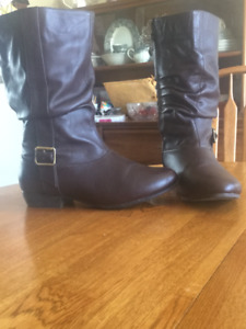 Wide Width Brown Leather Boots