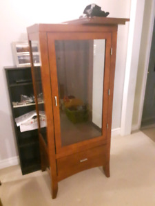 Glass China Cabinet, end table and small side table.