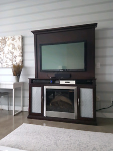 Media Unit with Built in Fire Place