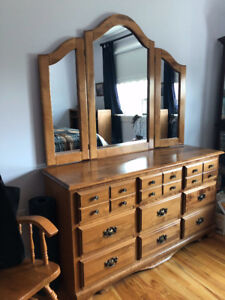 Solid wood bedroom set (queen sized bed frame)