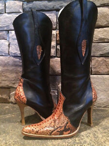 Los Altos python leather cowgirl cowboy boots stilettos women