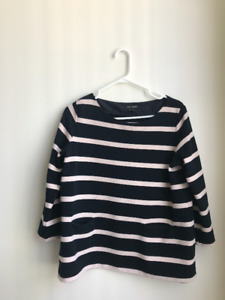Club Monaco Striped Navy and Light Pink Blouse Front Pockets L