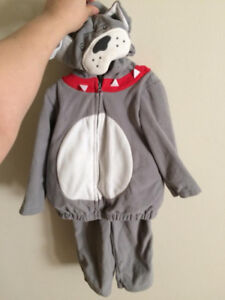 Carter lot, dog costume and two pairs of infant shoes. New