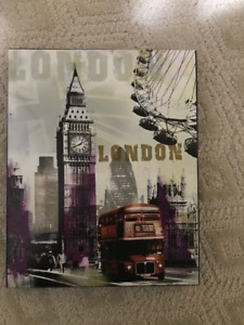 London Picture, with purple design, on wooden frame