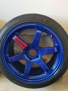 VOLK Wheels (hyper blue) & Hankook Tires