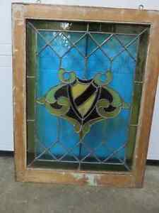 GREAT ANTIQUE STAIN GLASS WINDOW IN GREAT CONDITION ASKING $225