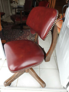Antique armless swivel office chair, restored, new burgundy leat