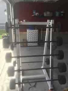 BARBELL WEIGHT SET WITH STAND