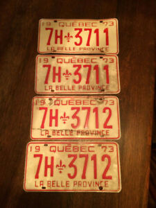 1973, Quebec, 2 pairs in sequence,  Licence Plates
