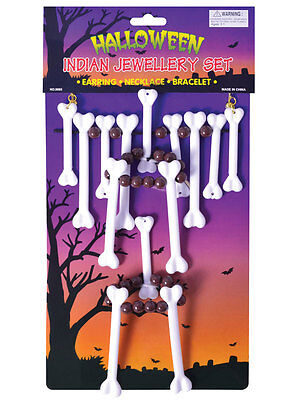 Bone Jewellery Set Cavewoman Witch Doctor Stoneage Necklace Fancy Dress Voodoo (Female Witch Doctor Costume)