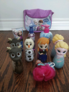 Frozen Anna And Elsa body wash, lotion, bag