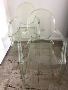 Kartell Louis Ghost Arm Chair Green Transparent (  Set of 2 )