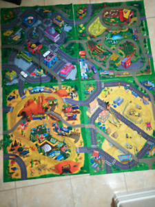 Huge 4 piece road/city play mat + toys