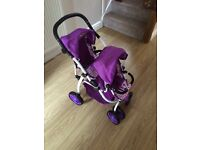 Dolls double buggy pram