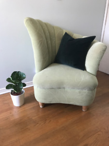 Accent Chair - Vintage Hollywood, Art Deco Shell Style, Avocado