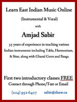 On Line East Indian Music lessons Vocal and Instrumental