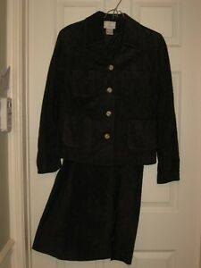 ladies brown suede two-pc suit lined,skirt & jacket size 9-11
