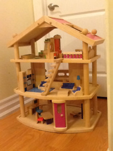 Lovely wood dollhouse and furniture