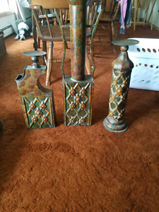 3 tin candle holder /vases