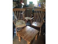 Wooden Pine table and chairs set