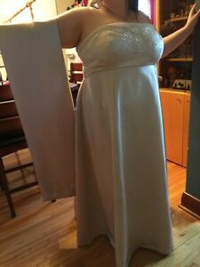 Beautiful Mori Lee Champagne A-line plus size ball gown