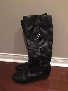 Franco Sarto Leather Wedge Boots Size 10