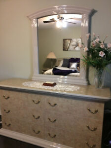Queen bed with chest, dresser with mirror and two night stands