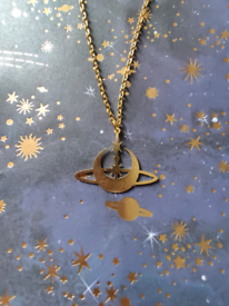Mystic Celestial Moon Star Orb Gold Charm Necklace
