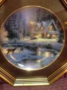 """Bradford Exchange Plate - Thomas Kinkade """"Deer Creek Cottage"""""""