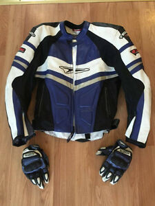 Men's Teknic leather motorcycle jacket with matching gloves.