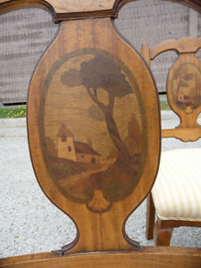 Six French Country Provinicial Antique Dining Room Chairs