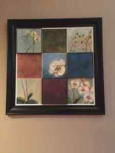 Black Framed tiled orchid flowers art 4' square Windsor Region Ontario image 2