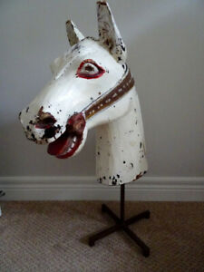 "HORSE HEAD SCULPTURE Folk Art carved wood 24"" VINTAGE ANTIQUE"